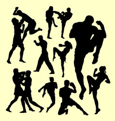 Muay thai duel boxing sport silhouette vector