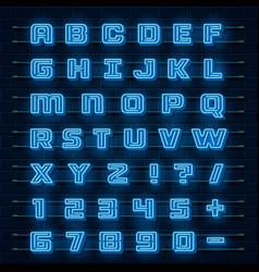 neon font city neon blue font english city vector image
