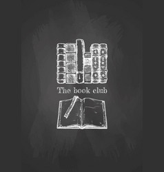 old books on blackboard vector image