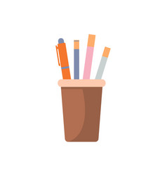 pencil and pen in glass icon vector image