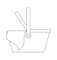 picnic basket icon in monochrome silhouette vector image