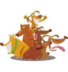 playful dogs group cartoon vector image
