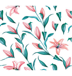 Realistic pink lily blossom leaves stem set vector