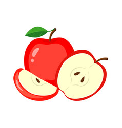 red apples with green leaves apple slice and h vector image