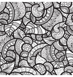 Seamless ethnic doodle monochrome pattern vector