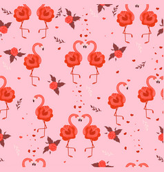 seamless pattern with flamingos roses and hearts vector image