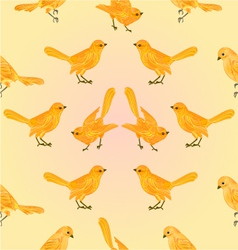 Seamless texture golden birds yellow background vector