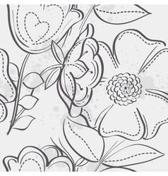 seamless texture meadow flowers black contour vector image