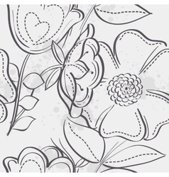 Seamless texture of meadow flowers black contour vector image