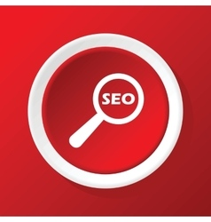 SEO search icon on red vector
