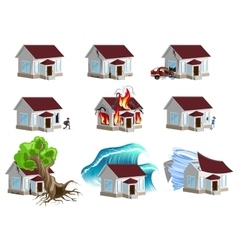 Set homes Disaster Home insurance Property vector
