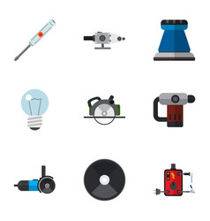 set of 9 editable electrical flat icons includes vector image vector image