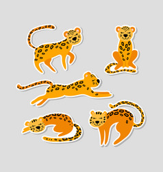 Set stickers with cute cartoon leopards vector