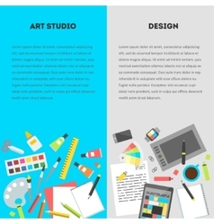 Set vertical banners workplace of a designer vector