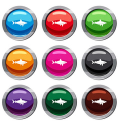 Shark fish set 9 collection vector