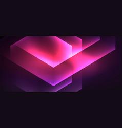 shiny hexagon neon template futuristic digital vector image