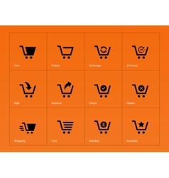 Shopping cart icons on orange background vector
