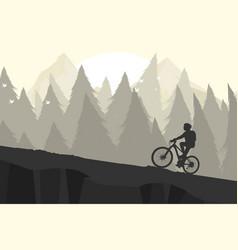 Silhouette mountain bike scene vector