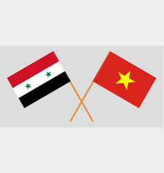 Socialist republic of vietnam and syria flags vector