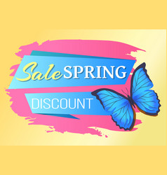 Spring sale poster discount -45 colorful butterfly vector