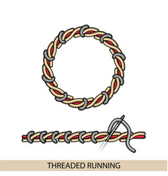 Stitches threaded running stich type vector