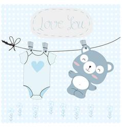 teddy bearblue baby shower card vector image