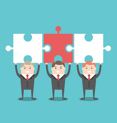 three businessmen with puzzles vector image