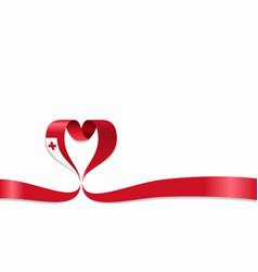 tonga flag heart-shaped ribbon vector image