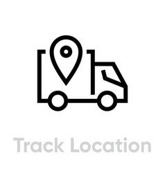 truck location delivery icon editable line vector image