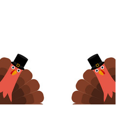 two funny thanksgiving turkey vector image