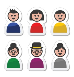 User young and old people icons set vector image