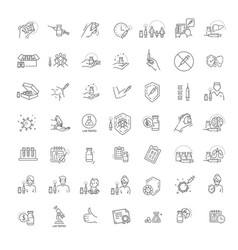 vaccine and vaccination icons set vector image
