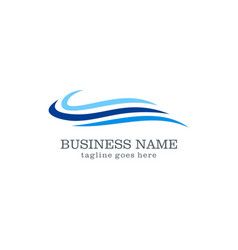 Wave water business logo design vector