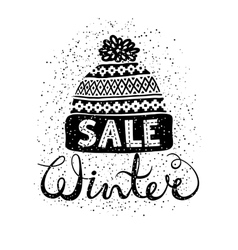 Winter Special banner or label with a knitted vector image