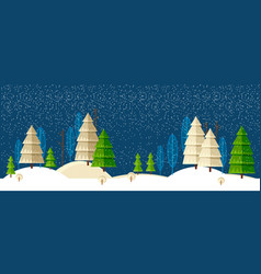 winter wonderland night background vector image