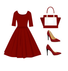 Woman red outfit set vector