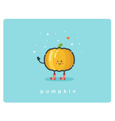 flat icon of pumpkin cute cartoon character vector image