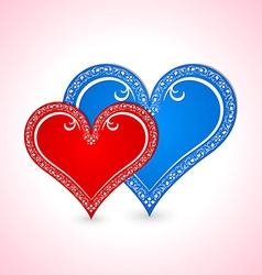Two Valentines hearts vector image vector image