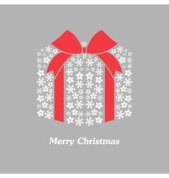 christmas gift box with white snowflake vector image vector image