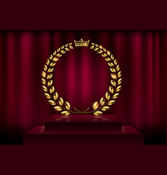 detailed round golden laurel wreath crown award on vector image vector image