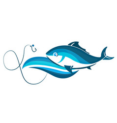fish on wave and hook vector image