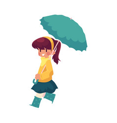 Girl keeping umbrella in hand isolated vector