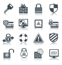 Security icons set black vector image vector image