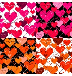 Set hearts pink seamless Backgrounds vector image