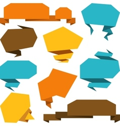 Set of abstract origami speech bubble background vector image vector image