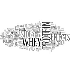 whey protein side effects text word cloud concept vector image vector image