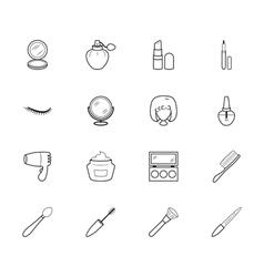 women makeup element black icon set on white bg vector image