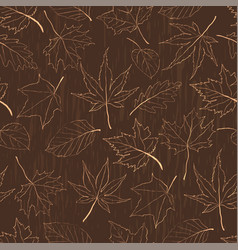 autumn seamless pattern with outline leaves vector image vector image