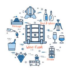 blue round wine cask concept vector image