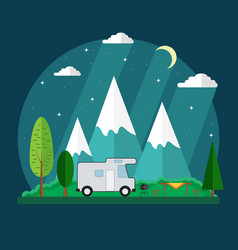 campsite place in mountain at night vector image vector image
